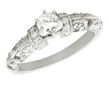 Natural 0.6Ct Round Cut Diamond Vintage Engagement Ring 14K Gold