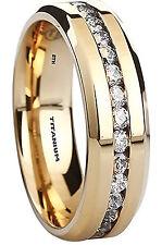 New Unisex Created Diamonds Titanium Gold Tone Wedding Engagement Band Ring