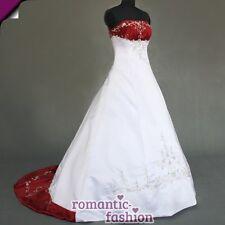 ♥Brautkleid, Hochzeitskleid Weiß mit Bordeauxrot+Gr. 34 bis 54+NEU+SOFORT+W086♥
