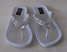 WHITE GRANDCO SANDALS Silver Bling GEMSTONES BEADS Beach Pool DRESSY Flip Flops