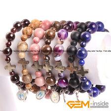"Handmade Beaded Natural Stone Prayer Rosary Bracelet With Pyrite Cross Beads 7"""