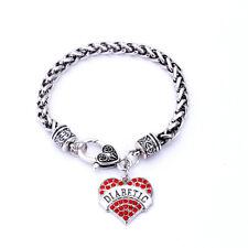 Diabetic Heart Charm Bracelet Medical Alert Diabetes Crystal