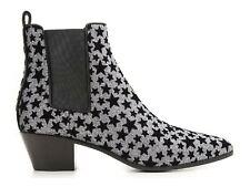 Saint Laurent low heels elasticized ankle boots anthracite glitter