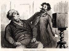 In posa per la fotografia. Caricatura di Daumier. Satira. + Passepartout. 1862