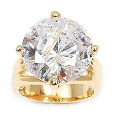 Dolly-Bijoux Grosse Bague Sertie Gros Diamant Cz 15 mm Plaqué Or 18K 5 Microns