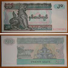 Bundle of 100 Pieces Myanmar Burma 20 Kyat Paper Money UNC