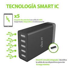Alto Rendimiento 5 puertos USB Cargador de Pared Red Corriente Para Movil Tablet