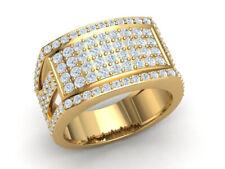 Genuine 2ct Round Cut Diamond Cluster Wide Fancy Men's Wedding Band 14K Gold