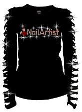 Bling Bling Nail Artist RHINESTONE T-Shirt Ripped Cut Out S~3X Nail Diva Long