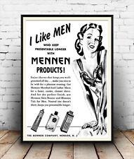 I Like Men , Vintage Lipstick advertising poster reproduction.