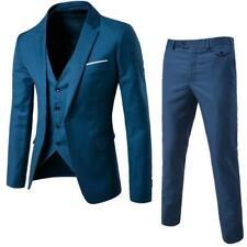 3pcs Mens Slim Fit Tuxedo Three Pieces Coat Vest Pants Formal Wedding Dress Suit