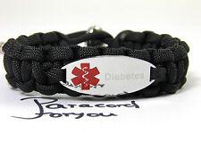 Medizinisches Notfall Armband-Paracord-Graviert-Diabetes-Verstellbar-
