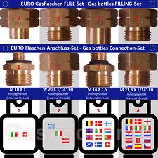 EURO-FLASCHEN + FÜLL SET Gasflaschen-Anschluss-Adapter-Übergangsstutzen Europa