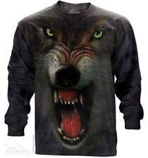 The Mountain Grrrr Long Sleeve Wolf Face Tee Shirt (Sm, Md, Lg)