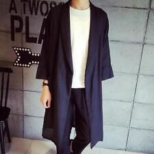 Fashion Men's Cape jacket coat Black Cotton Linen Long Trench Casual Outwear New
