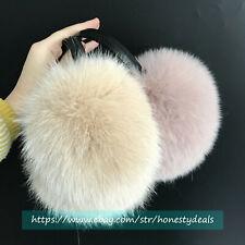 2020 new Large Real Fox Fur Earmuffs Real Sheepskin Leather Bracket