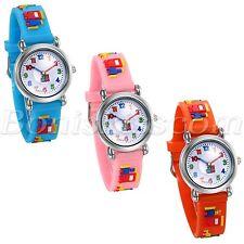 Kids Boys Girls Cartoon Building Blocks Pattern Silicone Band Quartz Wrist Watch