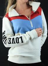 Victoria's Secret PINK Boyfriend Half Zip Mockneck Logo Fleece Sweatshirt