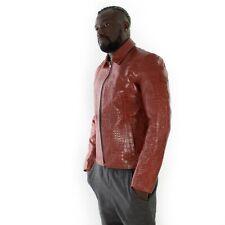 Italian handmade slim fit Men genuine goat leather jacket crocodile red brown