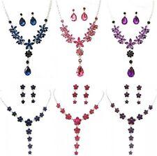 Silver Blue Pink Purple Flower Crystal Diamante Necklace Earrings Set Bridesmaid