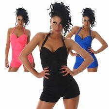 Neckholder-Badeanzug einfarbig elegant Bademode Overall Sport Beachwear Größe