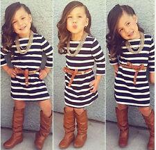2pcs Kids Baby Fashion Girls Long Sleeve Striped Dress + Belt Princess Dress Set