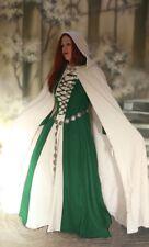 Edad Media GOTHIC Atuendo MEDIEVAL ATAVÍO Vestido ERMINA Verde Blanco con capa