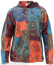Stonewashed Festival Patchwork Grandad Hoody Hippy Shirt,100% Cotton Boho Top