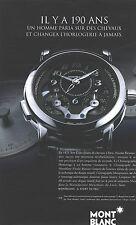 PUBLICITE ADVERTISING 2011   MONT BLANC ma montre MB R 200 grand modèle