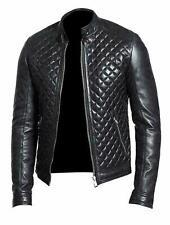 Men's Black Quilted Motorcycle Bomber Biker Cafe Racer Genuine Leather Jacket