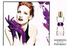 PUBLICITE ADVERTISING  2012   YVES SAINT LAURENT  parfum MANIFESTO (2 pages)