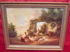 schönes,altes Gemälde__Hühnerhof__signiert__Top !