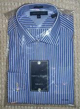 Tommy Hilfiger mens blue white striped button ls dress shirt regular fit $65