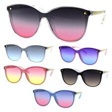 Oceanic Gradient Color Lens Shield Horn Mod Trendy Sunglasses