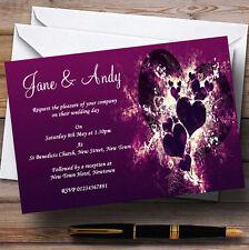 Purple Hearts Romantic Personalised Wedding Invitations
