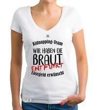 Damen T-Shirt V-Ausschnitt - JGA Kidnapping Team - Hochzeit Bride Crew Braut