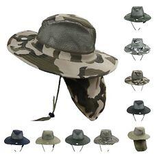 Boonie Bucket Hat Military Camo Mesh Neck Cover Sun Cap Hunting Hiking Fishing