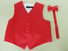 Vest Boys Bow Tie Guava Coral Satin Full Tuxedo Ring Bearer Wedding Party