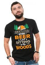 Funny Camping T-shirt Beer Drinking Shirt Mens Funny Camper Tee shirt
