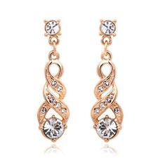 Stud Drop Earrings Austrian Crystal Ladies Vintage Rose Gold/ Silver Plated