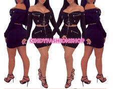 USA Women Two Piece Set Sexy Long Sleeve Crop Top +Front Zipper Mini Skirt 191ccd0f41c9