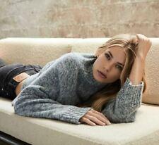 NWT 360 Cashmere Otelle Mock Neck Cashmere Sweater, Charcoal/Seafoam Sz XS $391