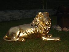 LÖWE liegend BLATTGOLD Deko Garten Tier Figur LÖWEN GOLD WILDTIER DEKOLÖWE