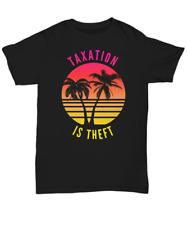 Taxation Is Theft Palm Tree Sunset T-Shirt - Unisex Crew Neck Black