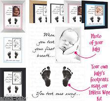 Personalised New Baby Keepsake Gift Boy Girl Hand Prints Footprints Kit Photo A4