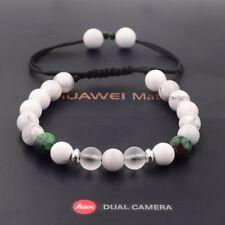 8MM Man's White Turquoise Lava Zircon Beads Adjustable Braided Macrame Bracelets