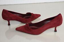 $735 New MANOLO BLAHNIK Gringo BB Pumps Suede Ruffle Kitten Heel Red Shoes 41
