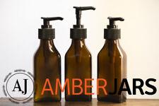 100ml Amber Glass Bottle - Flask Rectangle Square Lotion Gel Pump Dispenser