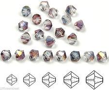 Czech MC Glass Bicone Beads (Rondell/Diamond) Crystal Heather Luster coated