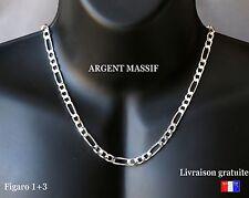 collier pour homme grosse chaine figaro en argent massif neuve 50 55 60 large 6m
